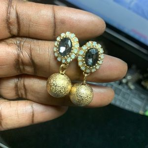 Vintage Gold Ball Simulated Stone Earrings